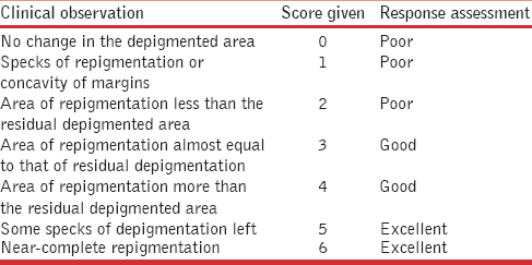 Table 2: Scoring system used to assess repigmentation